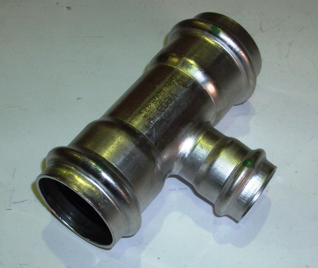 Тройник с SC-contur редукционный Sanpress Inox, VIEGA 2318, нержавеющая сталь  42х28х42