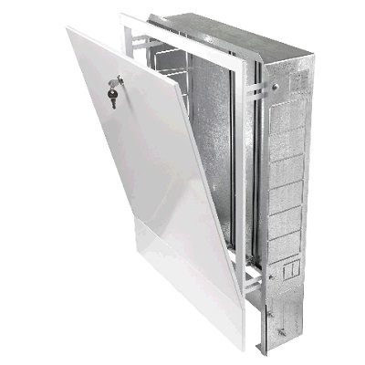 Шкаф для коллектора с замком, встраиваемый, регулируемый, оцинкованная сталь, белый, арт.ШРВ-2  670х125х 594 мм