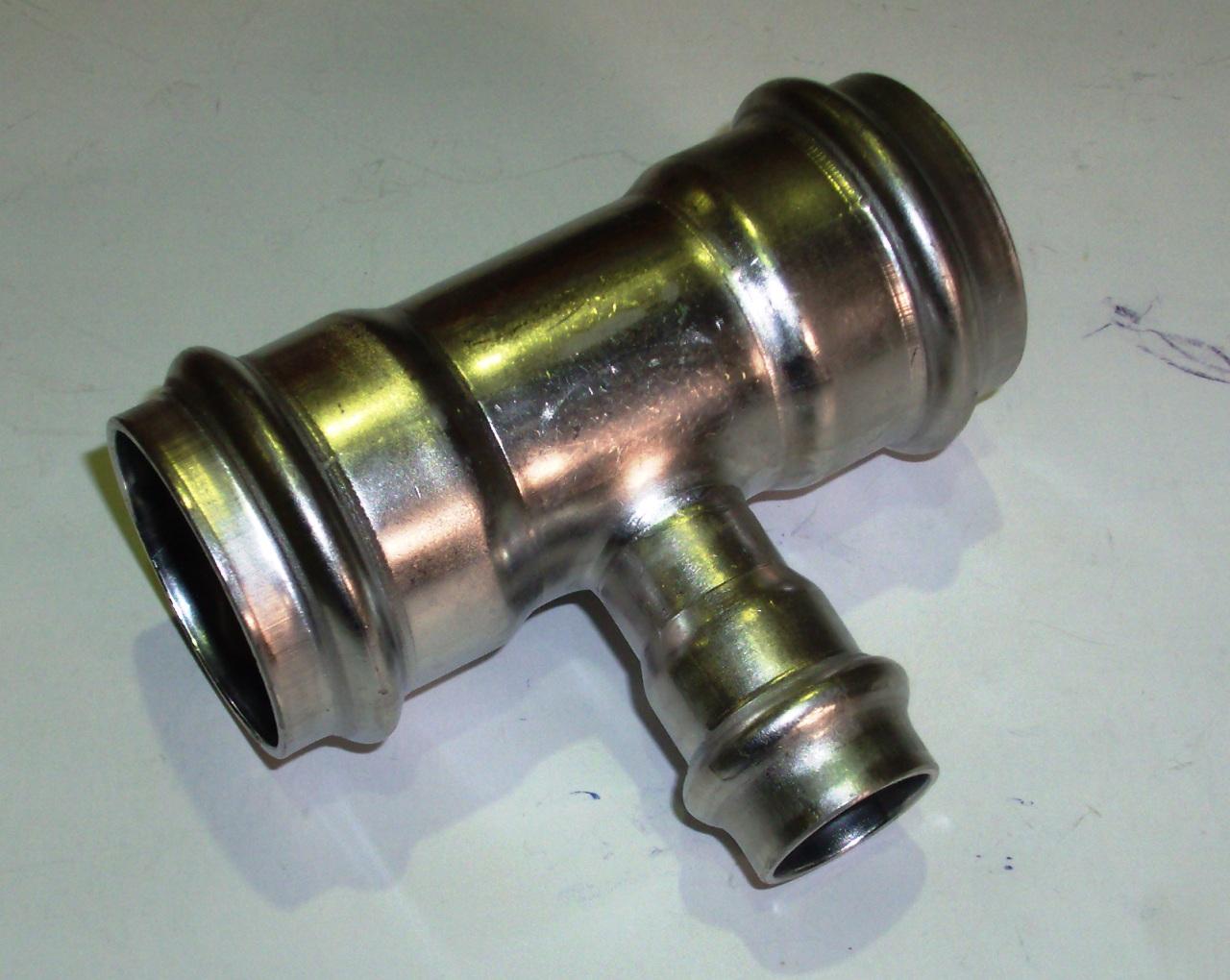 Тройник с SC-contur редукционный Sanpress Inox, VIEGA 2318, нержавеющая сталь  35х18х35