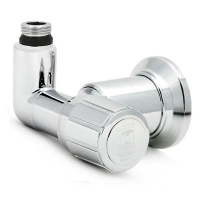 """Вентиль термостатический серии YOGA, для полотенцесушителя,  угловой, хромированный, ICMA арт.927  1/2""""х (24х1,5)"""