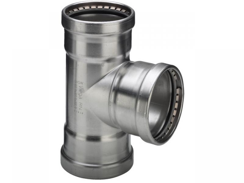 Тройник с SC-contur Sanpress Inox, VIEGA 2318XL, нержавеющая сталь  76,1мм