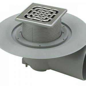 Трап с защитой от запаха Advantix 150*150, для ванной комнаты, с горизонтальным  отводом, регулируемый по высоте, VIEGA, арт.4955.1  70мм
