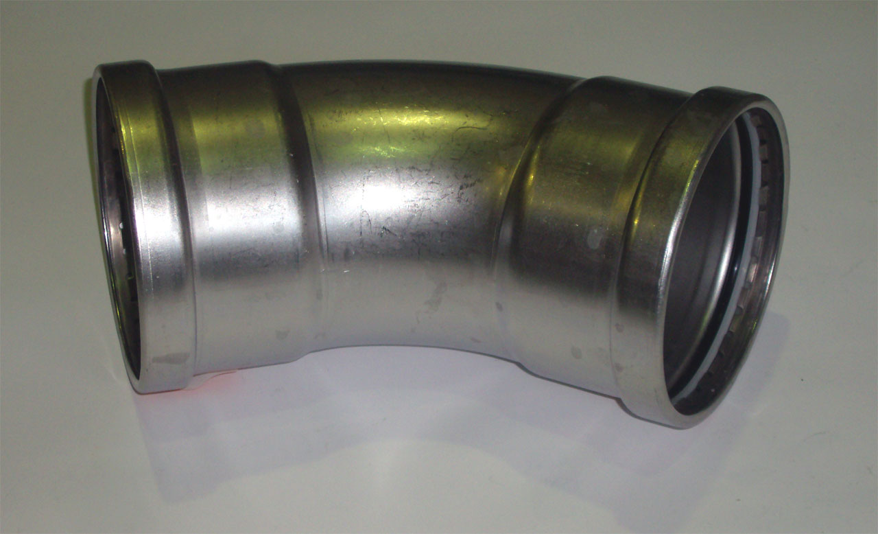 Отвод 45° с SC-contur Sanpress Inox, VIEGA 2326XL, нержавеющая сталь  108мм