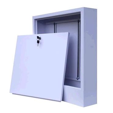 Шкаф для коллектора с замком, наружный, регулируемый, оцинкованная сталь, белый, арт.ШРН-2  651х120х 553 мм