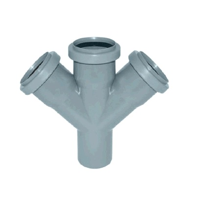 Крестовина, косая, 45*, ПВХ, серая,  канализационная  50 мм