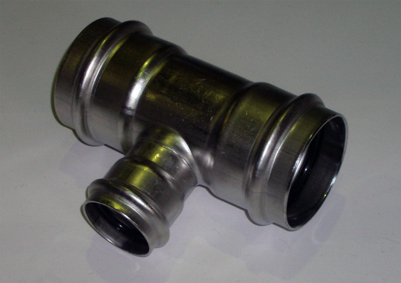 Тройник с SC-contur редукционный Sanpress Inox, VIEGA 2318, нержавеющая сталь  54х35х54
