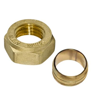 Кольцо с гайкой, компрессионное, латунное, NTM,  15мм