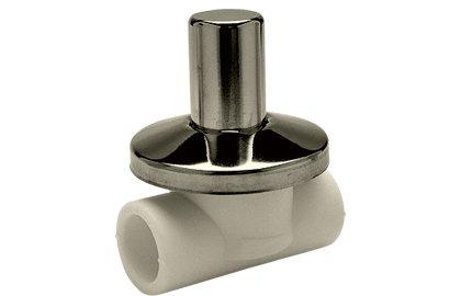 """Вентиль полипропиленовый под штукатурку, с хромированной крышкой. серый, FIRAT, арт.7784020127  20 х 1/2"""""""