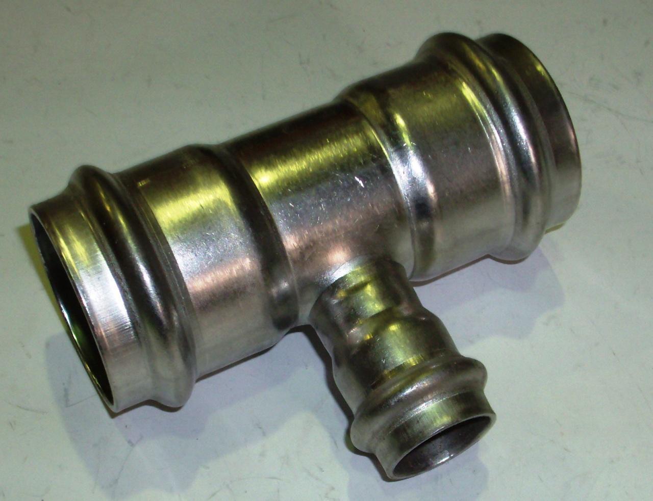 Тройник с SC-contur редукционный Sanpress Inox, VIEGA 2318, нержавеющая сталь  42х22х42