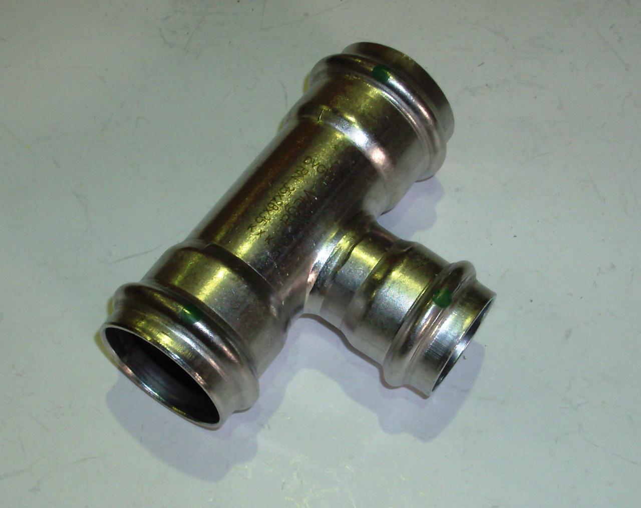 Тройник с SC-contur редукционный Sanpress Inox, VIEGA 2318, нержавеющая сталь  35х28х35