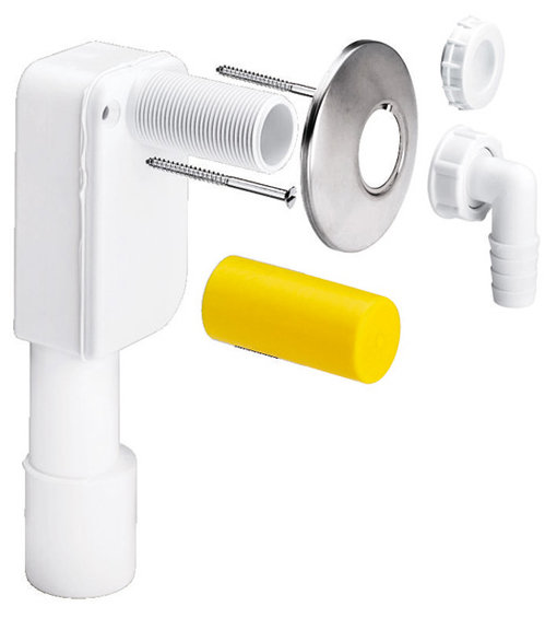 Сифон для скрытого монтажа, со штуцером для подключения бытовой техники, Viega 452452, пластиковый, (в комплекте)  40/50  мм