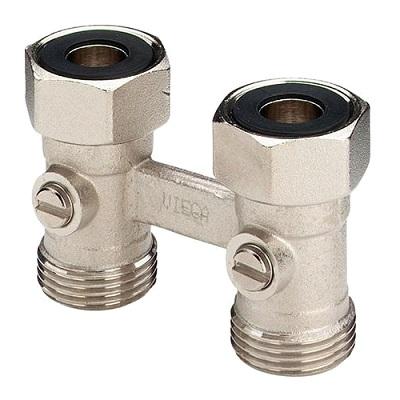 """Узел запорный нижний, прямой Viega 359102, для панельных радиаторов, бронза, никелированная, матовая  3/4""""х50"""