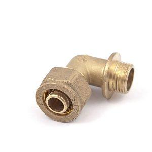 "Угол, компрессионный с НР, латунный, для Pe-X труб, General Fitting, арт.1N00.21  1/2"" х 15"