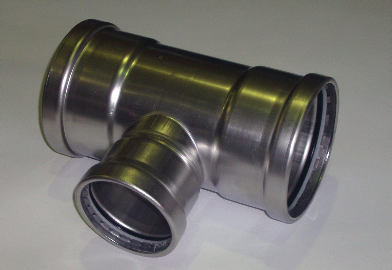 Тройник с SC-contur редукционный Sanpress Inox, VIEGA 2318XL, нержавеющая сталь 108х76,1х108