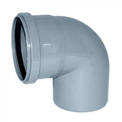 Отвод, прямой, ПВХ, серый,  канализационный  100 мм