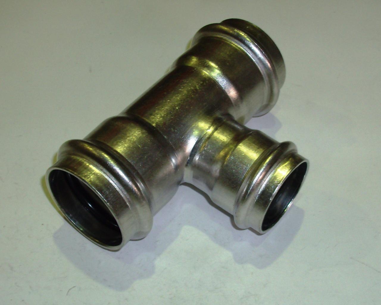 Тройник с SC-contur редукционный Sanpress Inox, VIEGA 2318, нержавеющая сталь  42х35х42