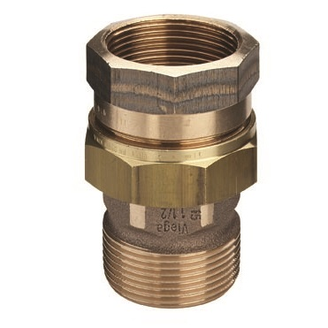 VIEGA cоединение резьбовое, с плоским уплотнение, бронза, внутренняя/наружная резьба, артикул 3331