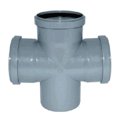 Крестовина, прямая, ПВХ, серая,  канализационная  50 мм