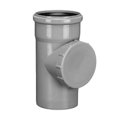Ревизия с крышкой, ПВХ, серая,  канализационная  100 мм