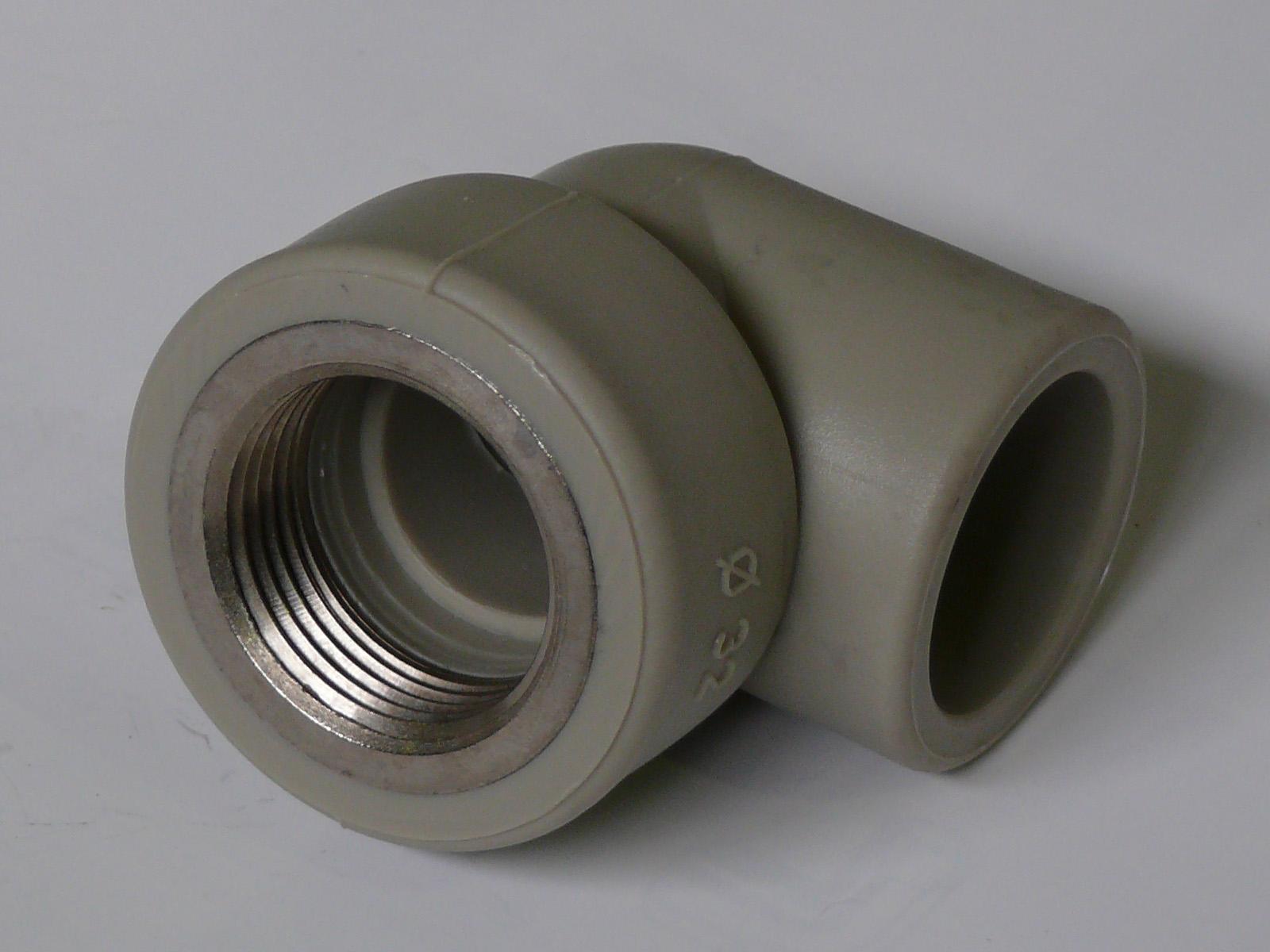 """Угол полипропиленовый FIRAT, комбинированный, серый, ВР, арт.7772032191  32 х 3/4"""""""