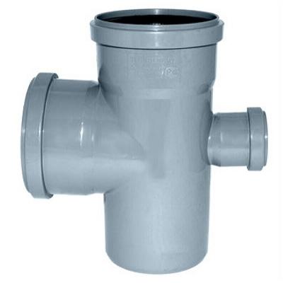 Крестовина, редукционная, ПВХ, серая,  канализационная  110х110х50мм