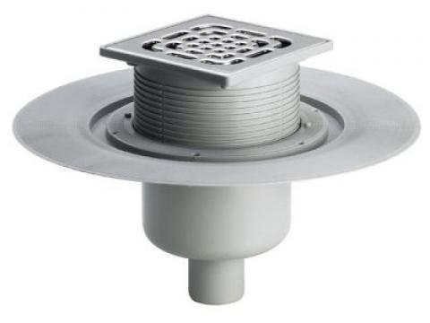 Трап с защитой от запаха Advantix 150*150, для ванной комнаты, с вертикальным отводом, регулируемый по высоте, VIEGA, арт.4951.1  50мм