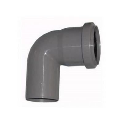 Отвод, прямой, 87*, ПВХ, серый,  канализационный  50 мм