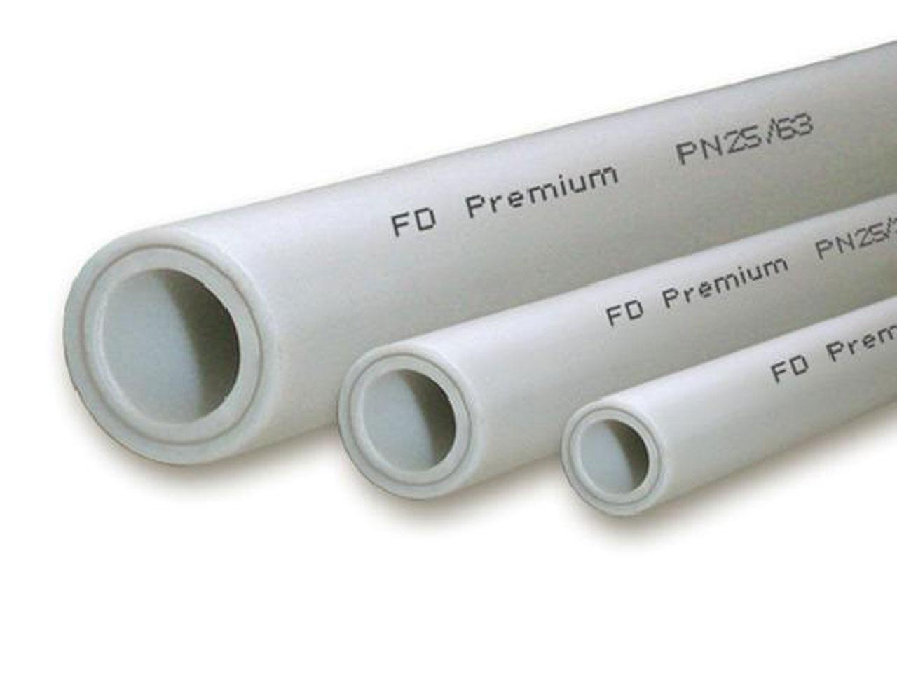 Труба полипропиленовая OPTIMUM армированная стекловолокном, SDR 6, белая, PN20, FDplast арт.2590  20х3,4