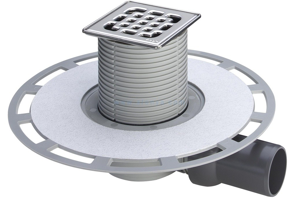 Трап с защитой от запаха Advantix 100*100, для ванной комнаты, горизонтальный слив, нежавеющая сталь/пластик, VIEGA, арт.4936.4   50мм