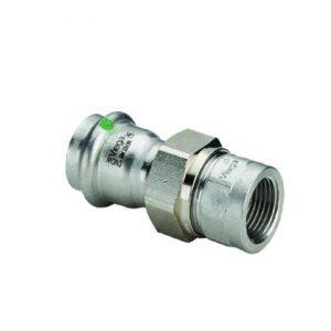 """Соединительный элемент резьбовой с SC-Contur Sanpress Inox, VIEGA 2362, нержавеющая сталь, плоское уплотнение, пресс/ВР  15х1/2"""""""