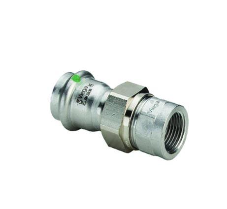 """Соединительный элемент резьбовой с SC-Contur Sanpress Inox, VIEGA 2362, нержавеющая сталь, плоское уплотнение, пресс/ВР  22х3/4"""""""
